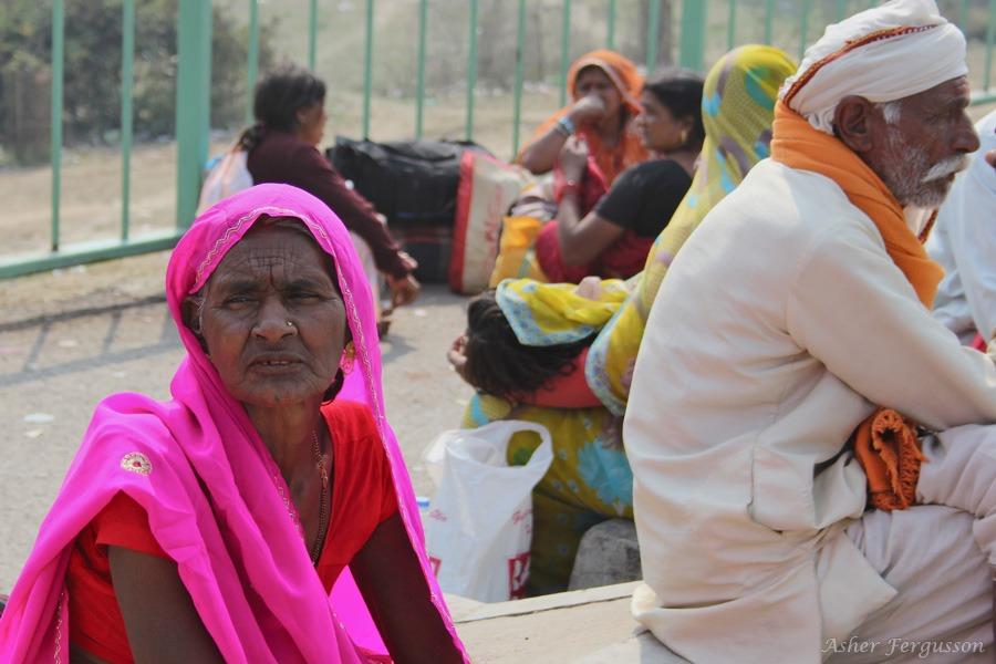 Pink sari on Indian lady
